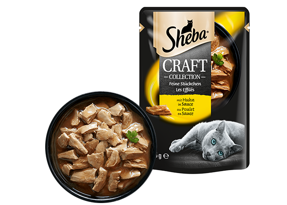 SHEBA Portionsbeutel Craft Collection mit Huhn in Sauce 12 x 85g