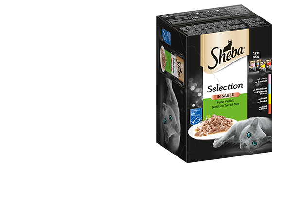 SHEBA® Portionsbeutel Multipack Selection in Sauce Feine Vielfalt MSC 4 x 12 x 85g